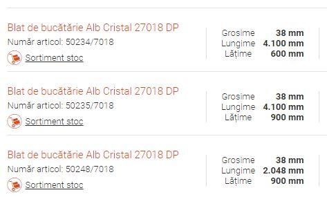 Blat de bucătărie Alb Cristal 27018 DP dimensiuni disponibile