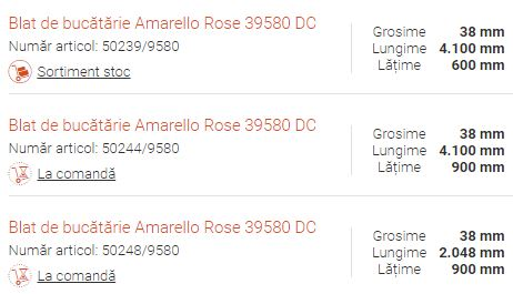 Blat de bucătărie Amarello Rose 39580 DC alte dimensiuni